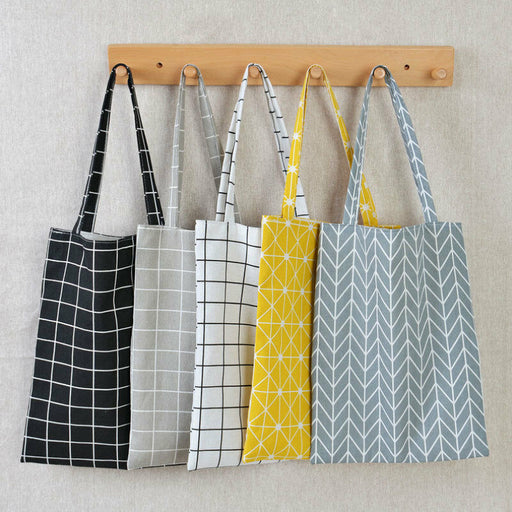 Plaid  Linen Shopping Shoulder Tote Bag