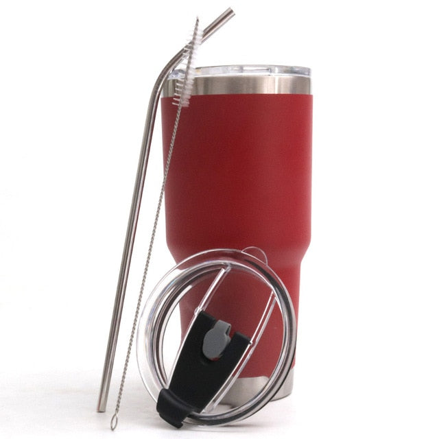 Double Wall Stainless Steel Travel Mug with Straw, Sealing lid & Straw Brush - 30 oz