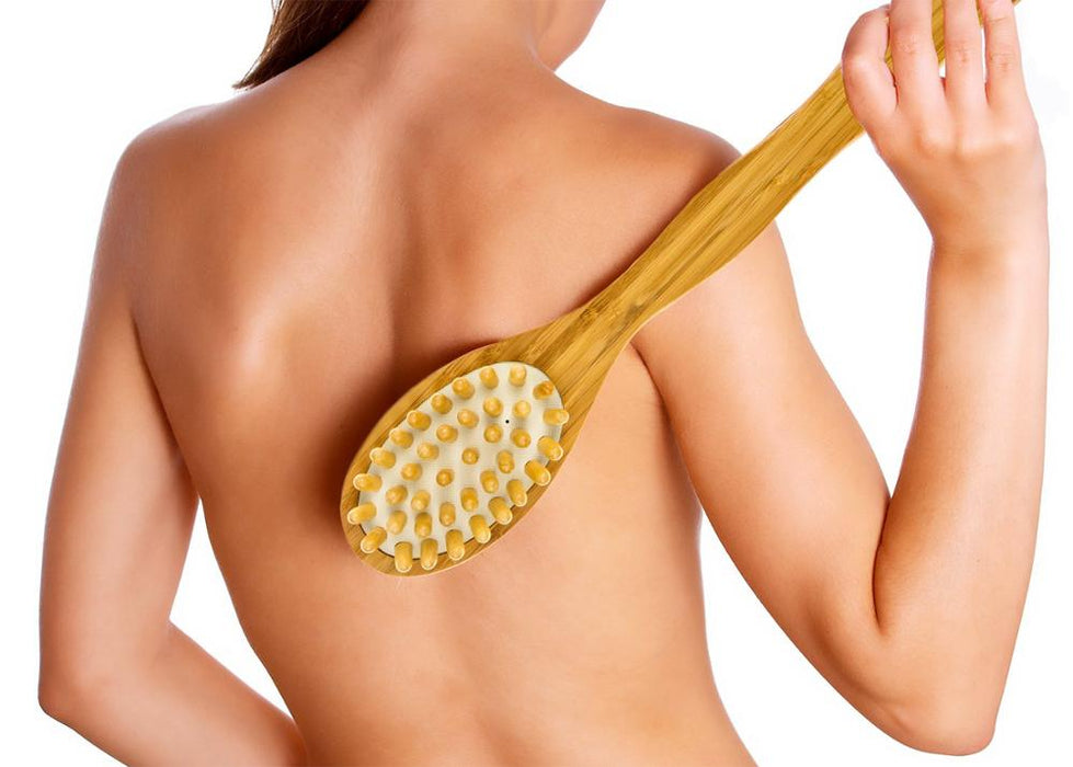 Natural Bristles Cellulite Bamboo Body Brush with Long Handle