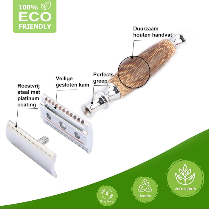Eco Friendly Double Edge Safety Razor with Natural Bamboo Handle