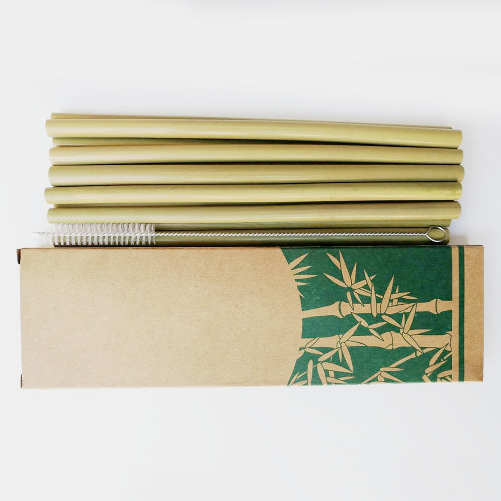 Reusable Bamboo Drinking Straws - 10pcs/set