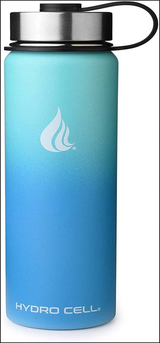 HYDRO CELL Stainless Steel Water Bottle w/Straw & Wide Mouth Lids - Teal/Blue 24oz