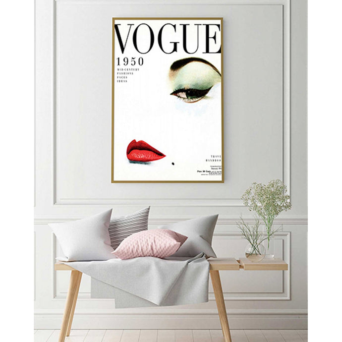 Quadro Decorativo Vogue 1950 Grande com Moldura