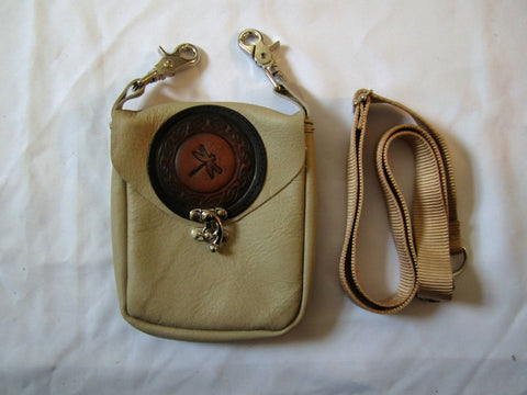 Tan Pouch with Dragonfly