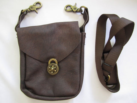 Brown Pouch with Twist Clasp