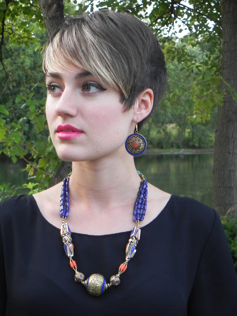 Tibetan Necklace Lapis + Coral with Etched Brass Details