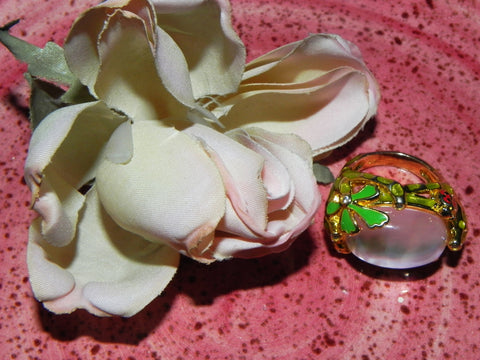Sterling Ring, Domed Mother of Pearl w/ Enamel sz 7
