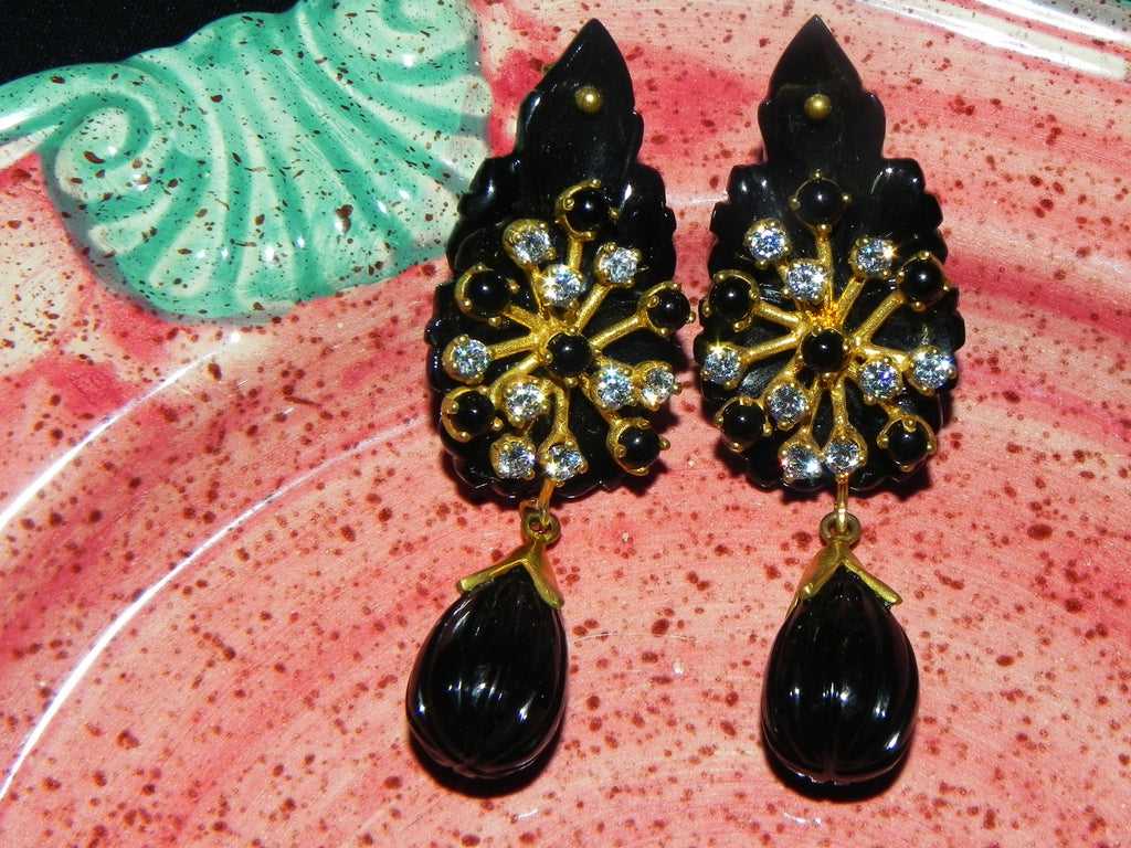 India Earrings Onyx HandCarved Dangling