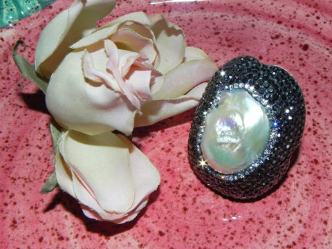 "Sterling Ring, Pearl w/ Swarovski Crystals ""Adjustable"""