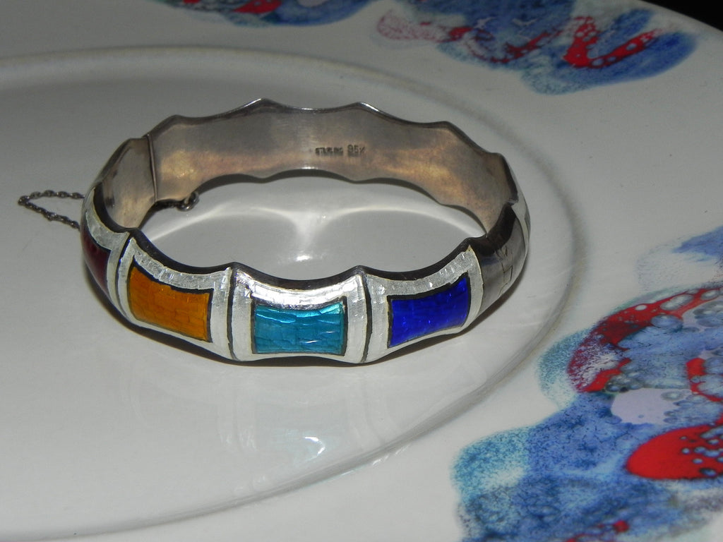 Estate Sterling Bracelet, Vintage Multi Colored Guilloche Enamel