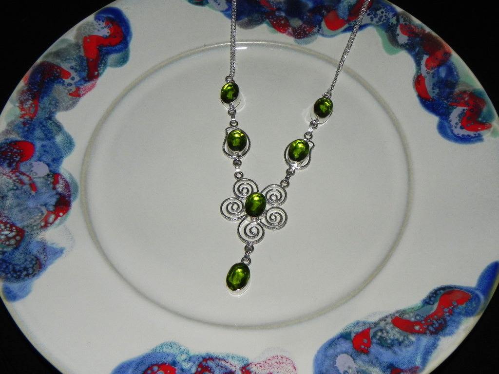Stone + Sterling Necklace w/ Peridot