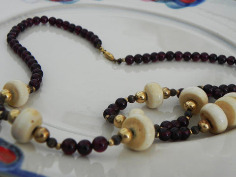 Vintage Necklace w/ Garnet & Bone Discs