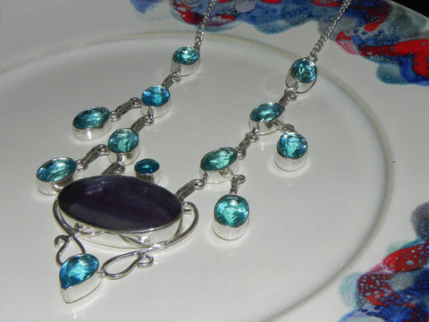 Stone + Sterling Necklace Topaz & Glass