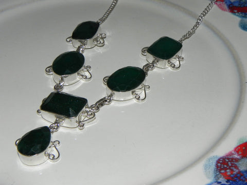 Stone + Sterling Necklace w/ Emerald