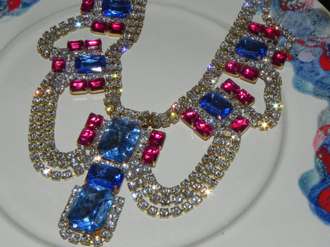 Vintage Necklace w/ Czech Glass Crystal & Rhinestone
