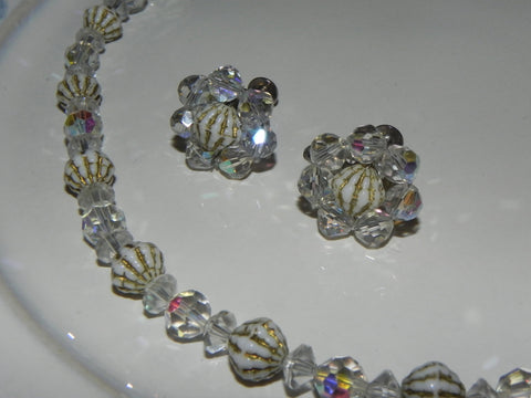 Vintage Set, Crystal Textured Bicone Beaded Necklace & Cluster Earring