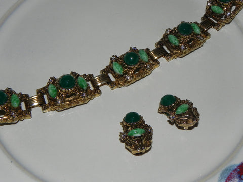 Vintage Set w/ Green Glass & Rhinestone