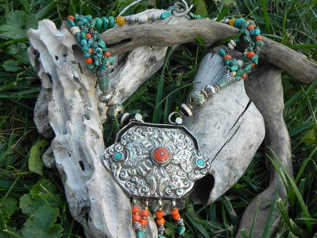 Tibetan Necklace, Handmade Turqouise Coral Conch Copal