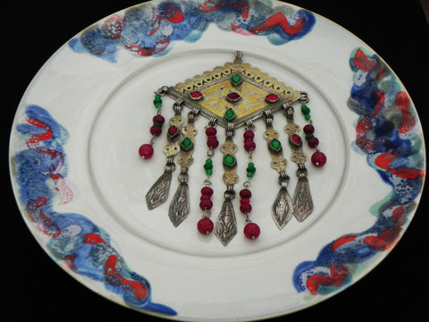Egyptian Pendant w/ Ruby, Emerald & Glass