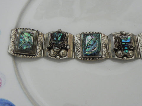 Estate Sterling Bracelet, Vintage Mexican Taxco Abalone