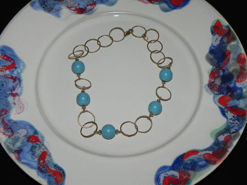 Estate Sterling Necklace, w/ Sleeping Beauty Turquoise