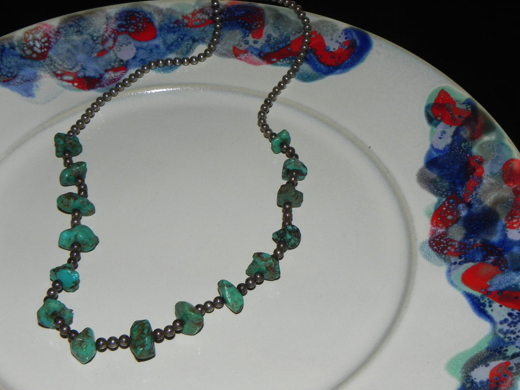 Estate Sterling Necklace,Southwest w/Turquoise Nuggets