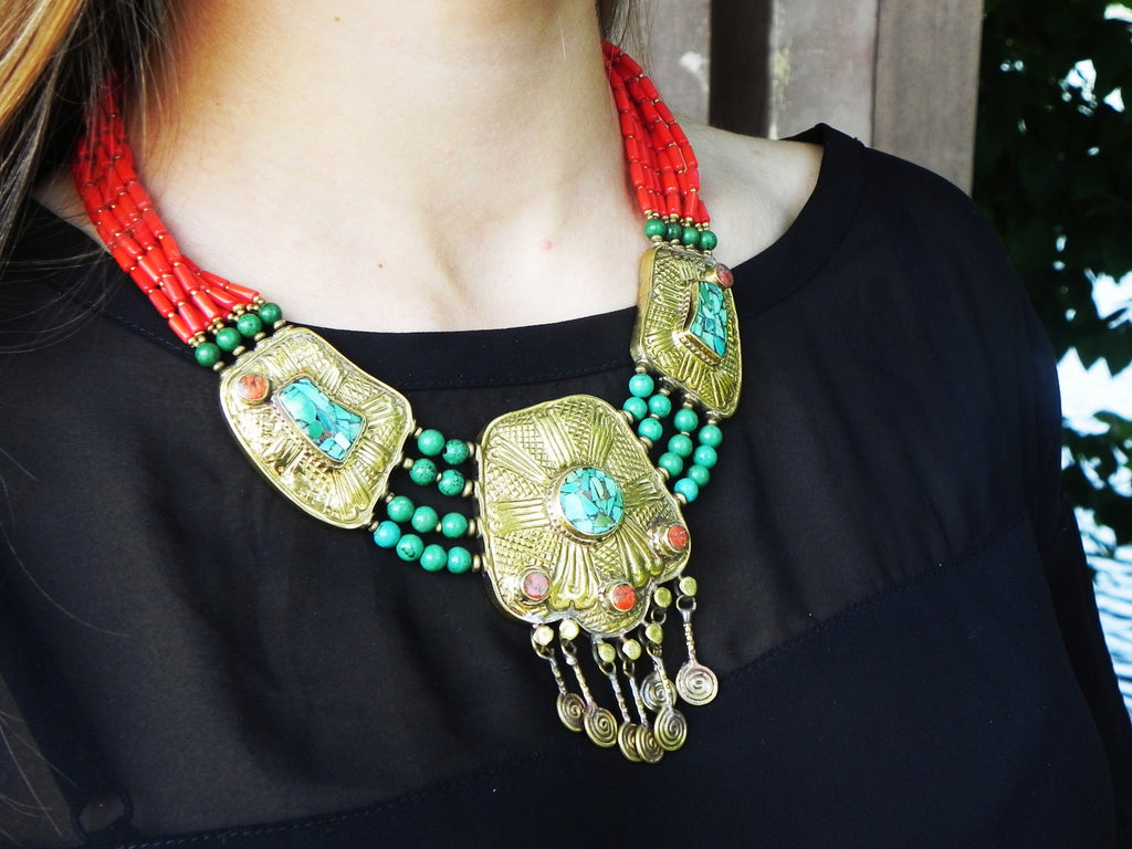 Tibetan Necklace, Brass Dangles