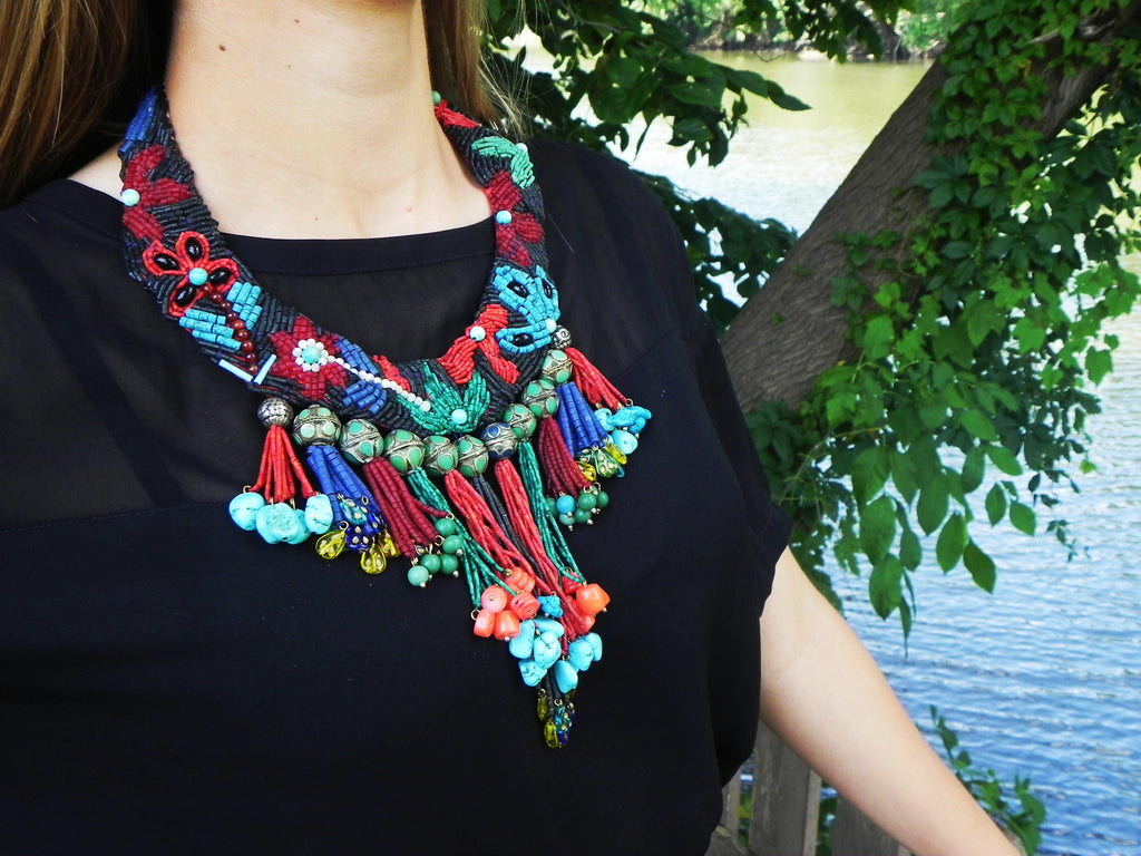 Turkish Bib Necklace w/ Stones