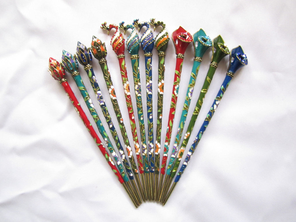 Hair Pins Multicolored Enamel Cloisonne