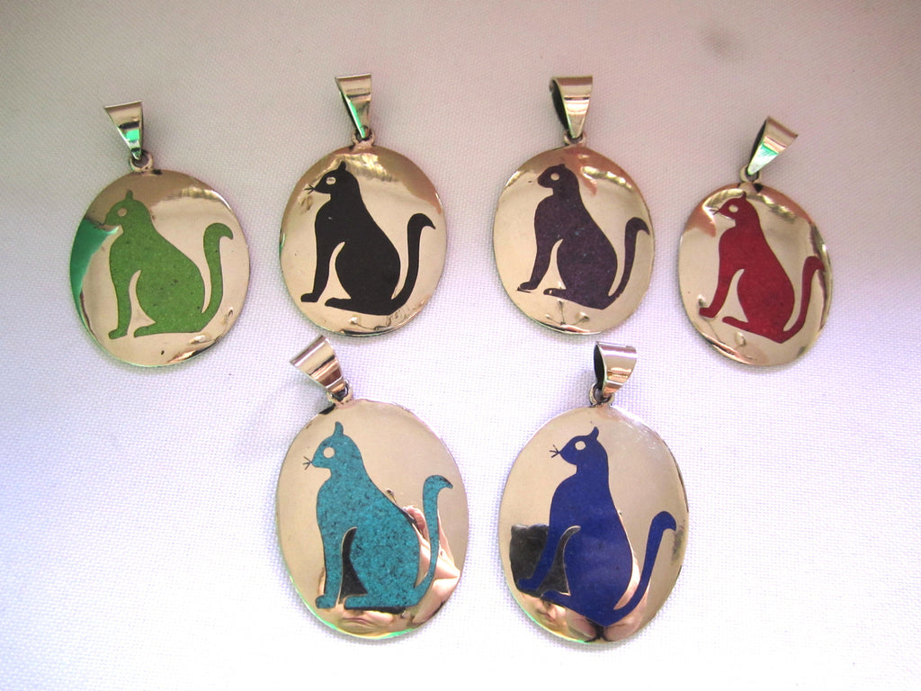 Handmade Oval Cat Pendant