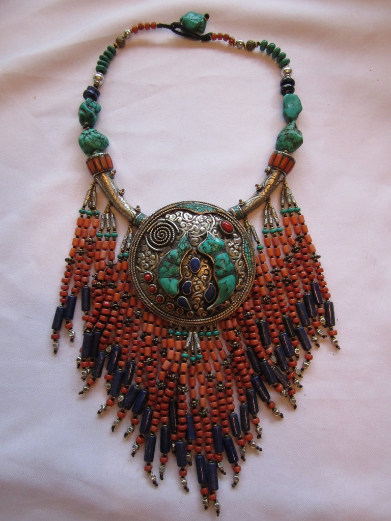 Tibetan Necklace Drippy Coral Turqouise Lapis with Center Pendant