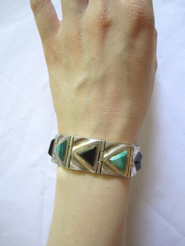 Estate Sterling Bracelet Mexican Malachite + Onyx Diamond Pattern