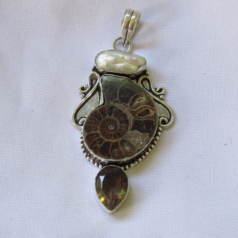 Gems & Stones Silver Plate Large Pendant- Shell and Multi Stone
