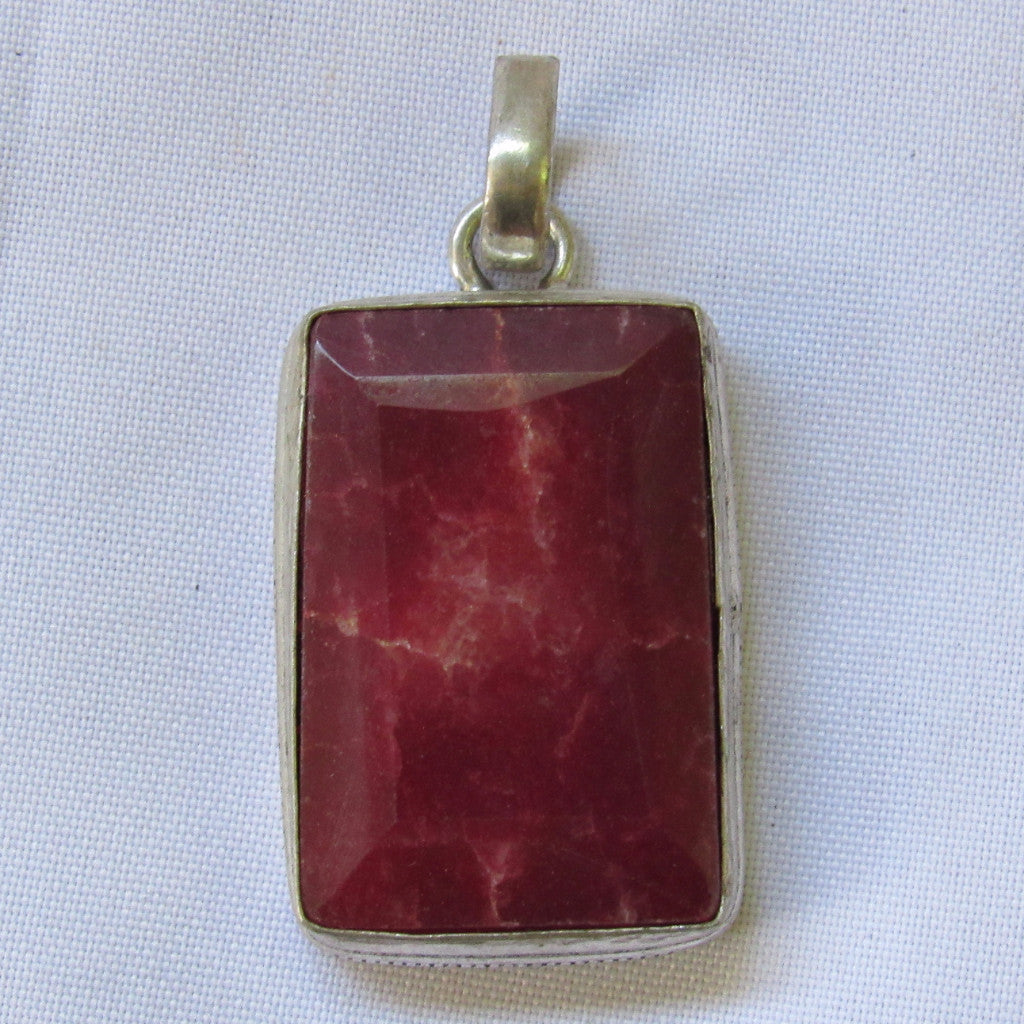 Gems & Stones Silver Plated Large Square Stone Pendant