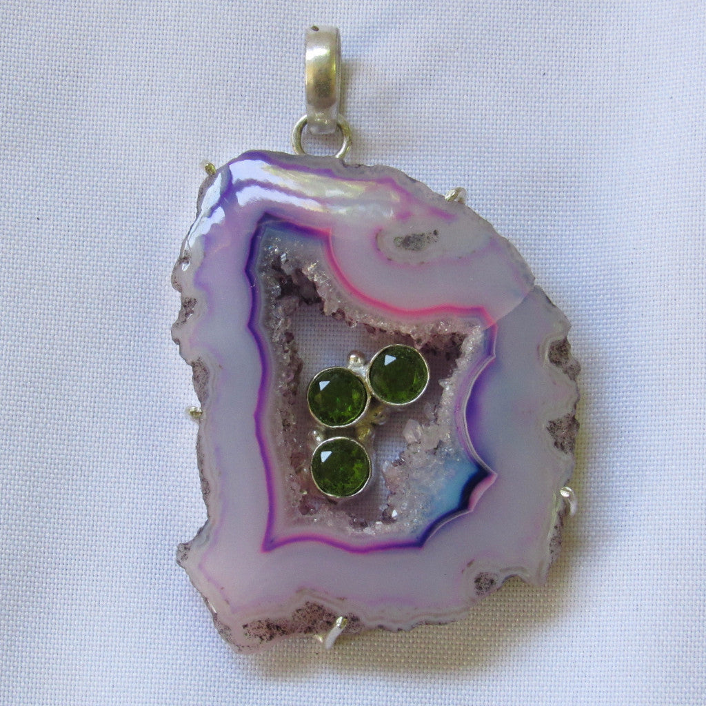 Gem & Stones Large Pendant - 1 Stone with Small Stone Accent