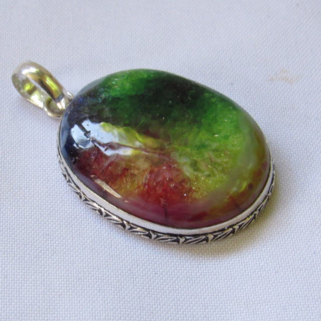 Gems & Stones Silver Plate Rainbow Oval Stone Pendant