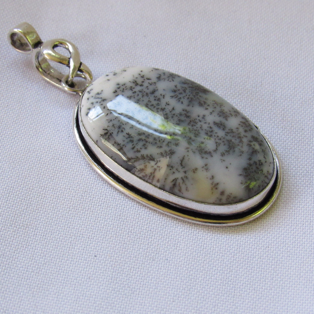 Gems & Stones Silver Plate Large Oval Stone Pendant