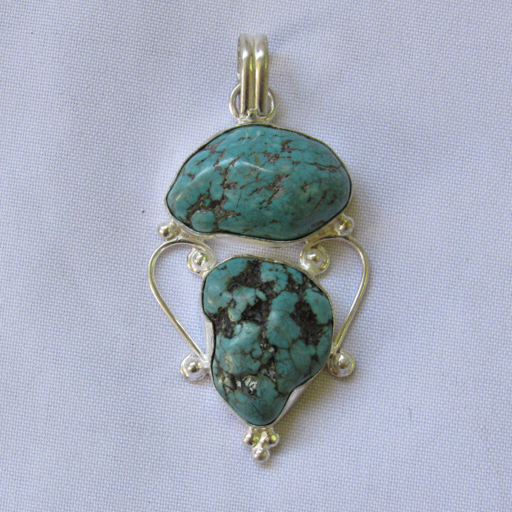 Gems & Stones Silver Plate Large Stone Pendant - 2 Turquoise Stones