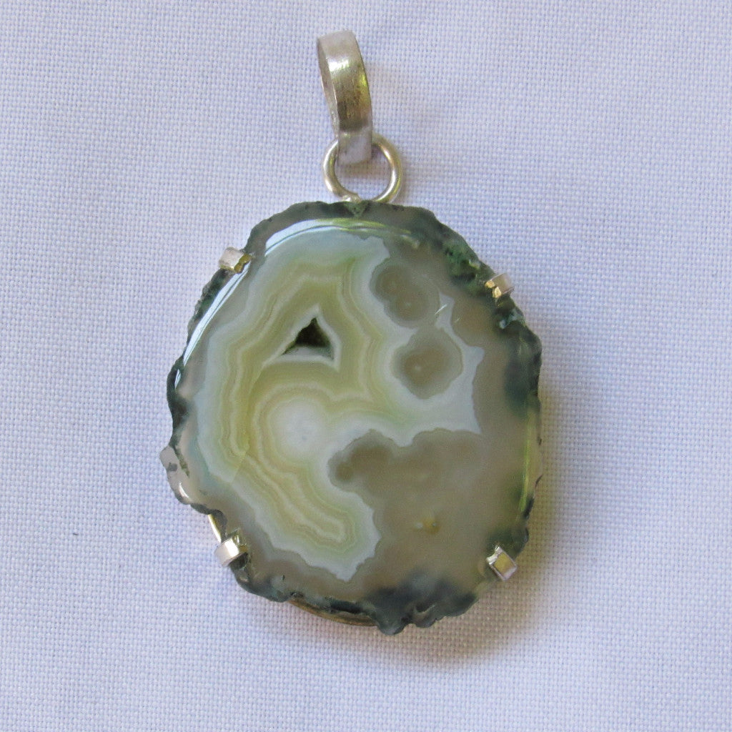 Gems & Stones Silver Plated Large Stone Pendant