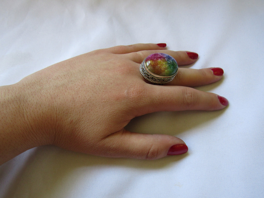Silver Plated Large Stone Ring - Rainbow Oval