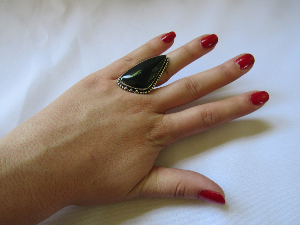 Silver Plated Large Stone Ring - Green Triangle