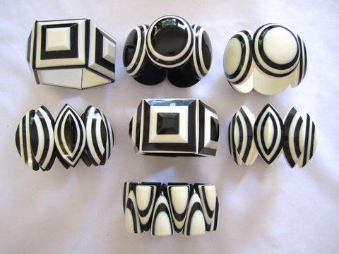 Nepal Bone Black + White Bracelets