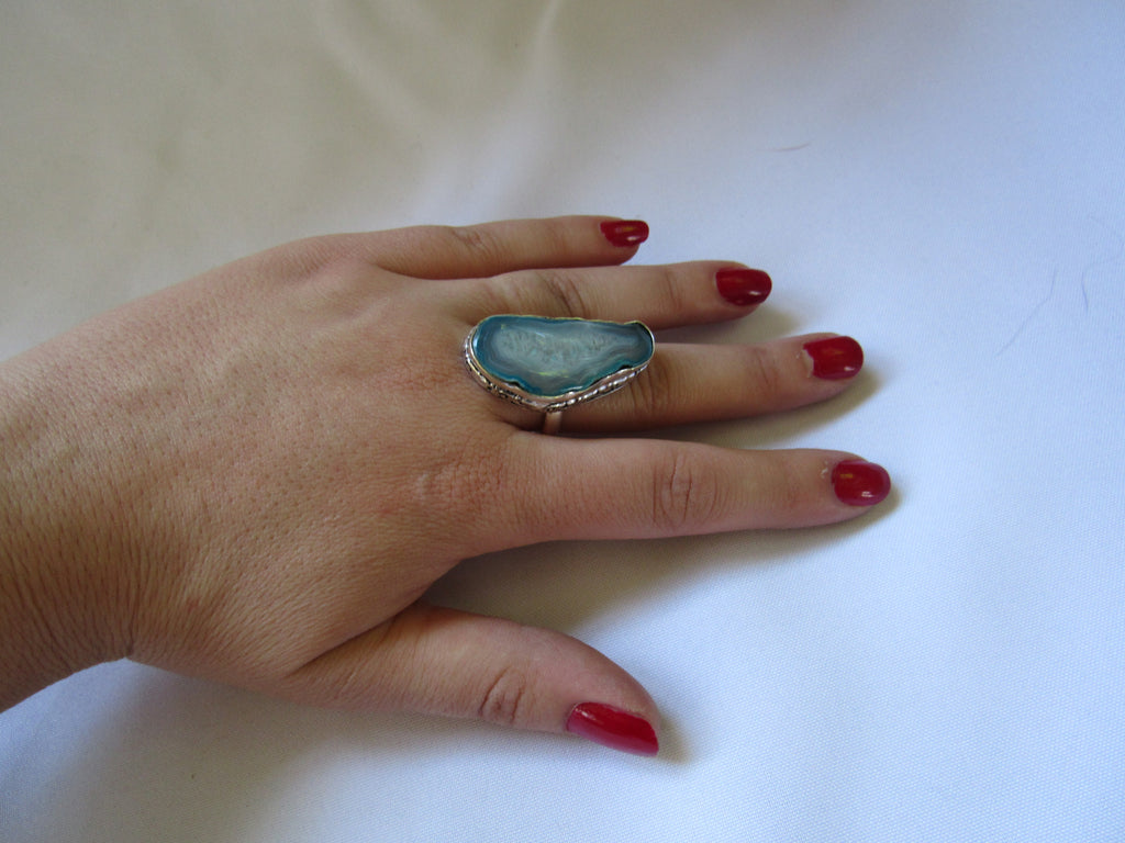 Gems & Stones Silver Plated Large Stone Ring - Blue Druzy- Sz 11
