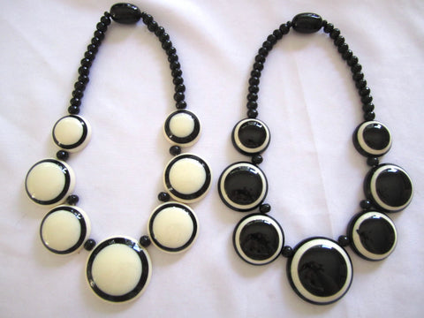 Nepal Bone Black + White Necklaces