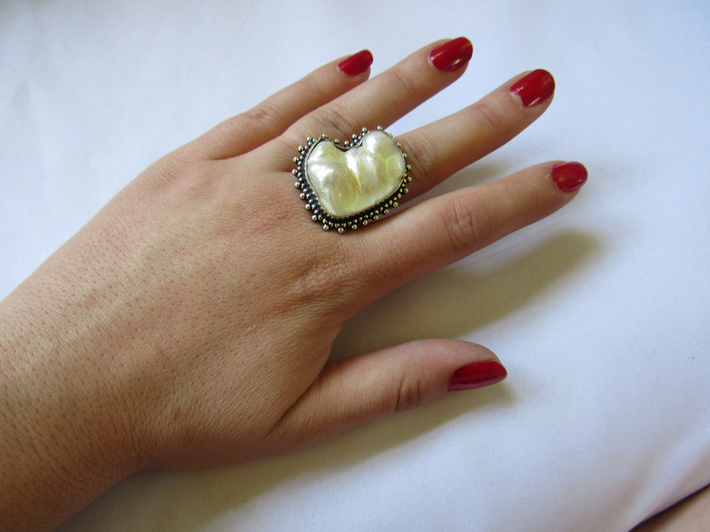 Silver Plated Large Stone Ring - Natural White