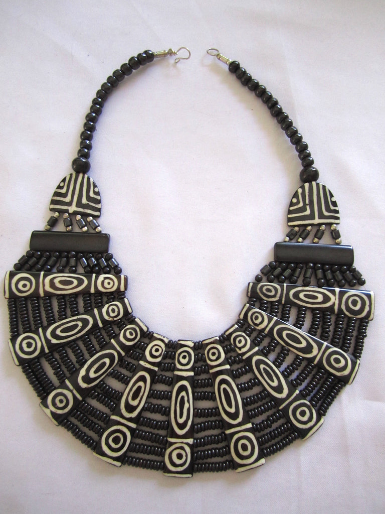 Nepal Bone + Horn Necklace Wide Bib