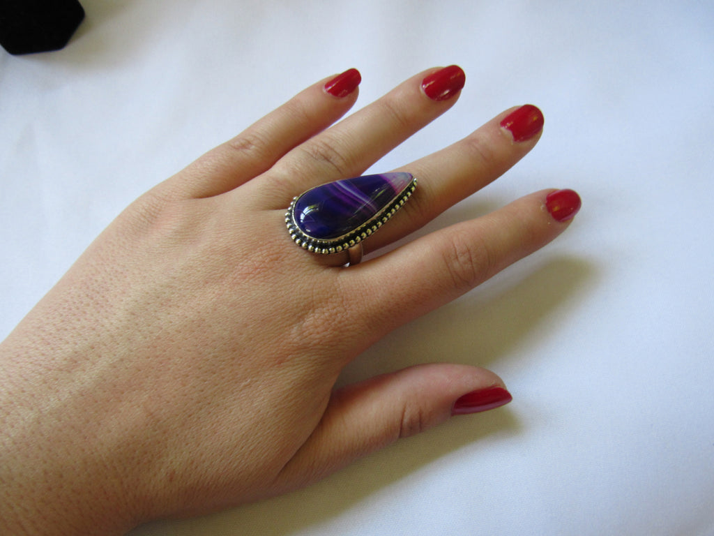 Silver Plated Large Stone Ring - Purple Pear
