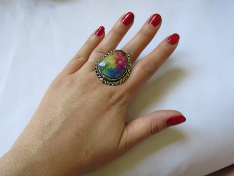 Gems & Stones Silver Plated Large Stone Ring  - Rainbow Snakeskin Quartz- Sz 8