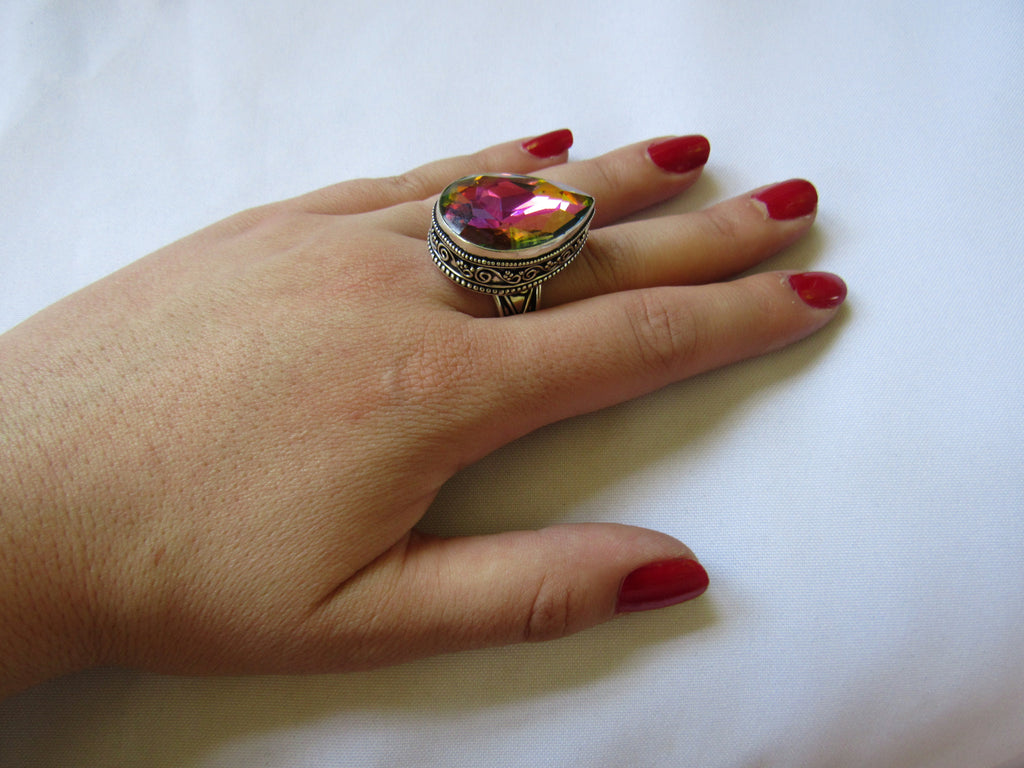 Silver Plated Large Stone Ring - Rainbow Crystal