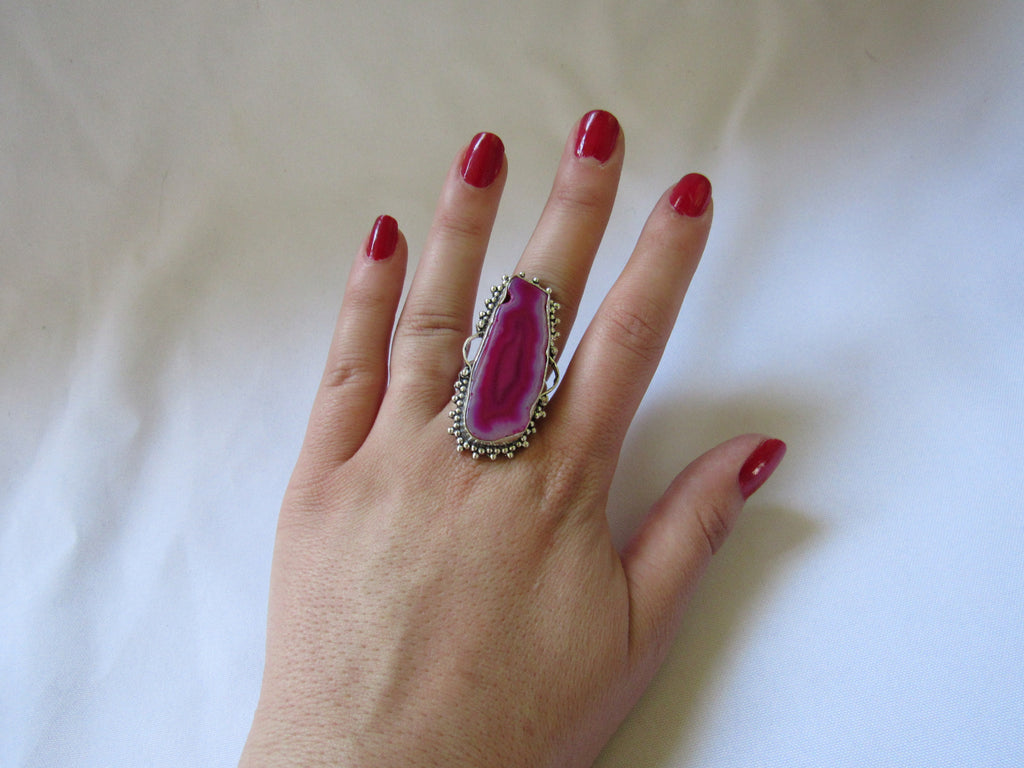 Silver Plated Large Stone Ring - Pink